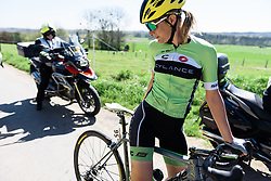 Doris Schweizer recovers from a crash - Flèche Wallonne Femmes - a 137km road race from starting and finishing in Huy on April 20, 2016 in Liege, Belgium.