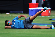 Harmanpreet Kaur of India warm up before the start of the second women's one day International ( ODI ) match between India and Australia held at the Reliance Cricket Stadium in Vadodara, India on the 15th March 2018<br /> <br /> Photo by Vipin Pawar / BCCI / SPORTZPICS