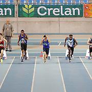 Faux départ de Raphael Kapenda (couloir 4) en finale 60m juniors lors du Championnat de Belgique indoor Juniors et Espoirs qui s'est déroulé à Gand (Topsporthal) le 04/03/2017.