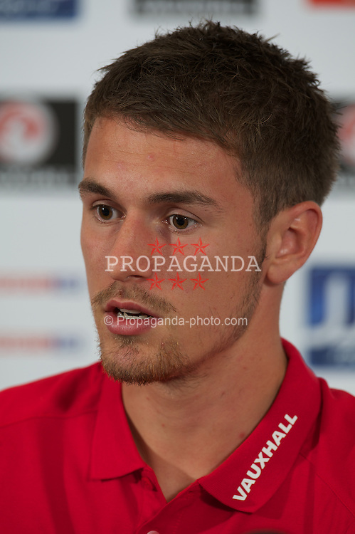 NEWPORT, WALES - Thursday, September 1, 2011: Wales' captain Aaron Ramsey during a press conference at the Celtic Manor Resort Hotel ahead of the UEFA Euro 2012 Qualifying Group G match against Montenegro. (Pic by David Rawcliffe/Propaganda)