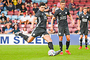 Harry Maguire of Leicester City (15) takes a shot during the Pre-Season Friendly match between Scunthorpe United and Leicester City at Glanford Park, Scunthorpe, England on 16 July 2019.