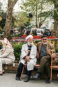Turkish men in a park in Istanbul, Turkey