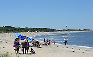 Sunbathers set up their chairs and blankets Saturday July 2, 2016 at Higbee Beach in Cape May, New Jersey. Photo by William Thomas Cain/Cain Images<br /> <br /> Sunbathers at Higbee Beach in Cape May, New Jersey