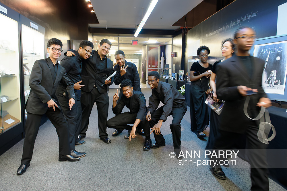 Garden City, New York, U.S. June 6, 2019. Freeport High School members of its Upperclassmen Jazz Band briefly stop to pose after performing during Cocktail Hour at Cradle of Aviation Museum during Apollo at 50 Anniversary Dinner, an Apollo astronaut tribute celebrating the Apollo 11 mission Moon landing. Garden City.