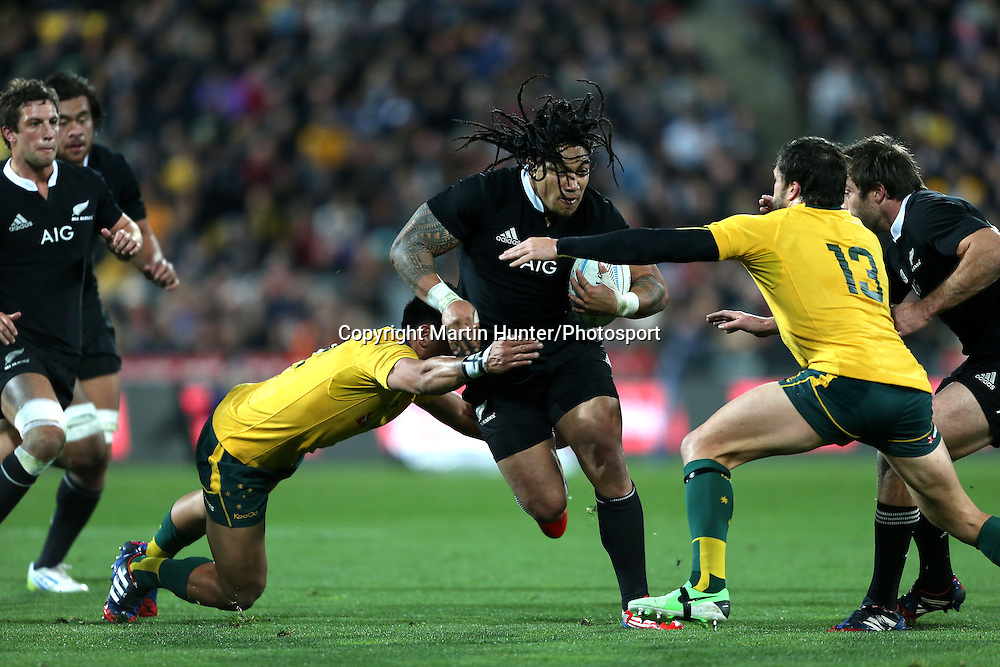 Ma'a Nonu makes a break. 2013 Rugby Championship All Blacks v Australia at Westpac Stadium, Wellington, New Zealand on Saturday 24 August 2013. Photo: Martin Hunter / www.photosport.co.nz