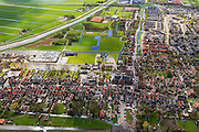 Nederland, Noord-Holland, Graft-De Rijp, 16-04-2012; De Rijp, Rechtestraat  en Tuingracht naar Grote Kerk, Beemster linksboven in beeld. .View on the old town of De Rijp with church and ring canal (top photo) in the polder Beemster..luchtfoto (toeslag), aerial photo (additional fee required).foto/photo Siebe Swart