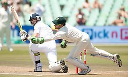 England's Kevin Pietersen hits a shot past South African wicketkeeper Mark Boucher (right) during the second Test at Kingsmead, Durban, South Africa.