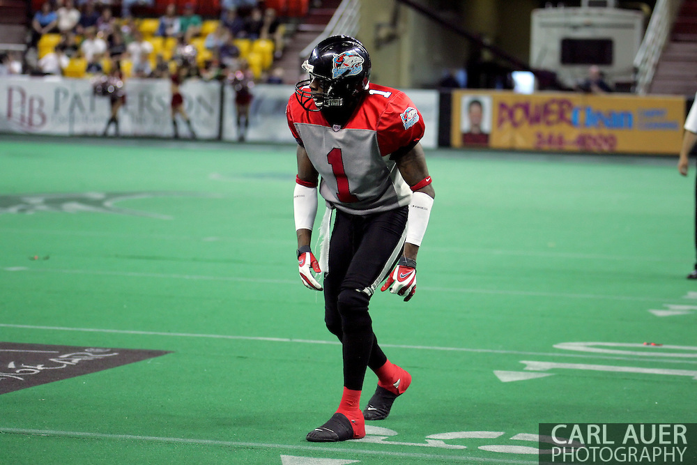 6-28-2007: Anchorage, AK - Kendrick Wade (1) lines up for a play as the CenTex Barracudas hand the Alaska Wild another loss 53-47 as the Barracudas make the trip up to Alaska.