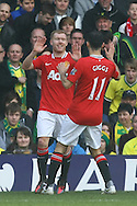 Picture by Paul Chesterton/Focus Images Ltd.  07904 640267.26/02/12.Paul Scholes of Man Utd scores his sides 1st goal and celebrates during the Barclays Premier League match at Carrow Road Stadium, Norwich.