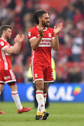 Middlesbrough defender Ryan Shotton (5) applauds the Middlesbrough supporters during the EFL Sky Bet Championship match between Middlesbrough and Aston Villa at the Riverside Stadium, Middlesbrough, England on 12 May 2018. Picture by Jon Hobley.