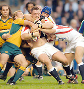 2005 Rugby, Investec Challenge, England vs Australia, Andrew Sheriden, on the roll, supported by Olly Barkley, Tackliny Wallabies left to right Chris Whitaker and  right Nathen Sharpe.  RFU Twickenham, ENGLAND:     12.11.2005   © Peter Spurrier/Intersport Images - email images@intersport-images...