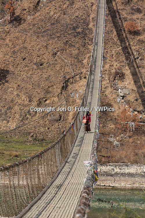 The steel cable suspension foot bridge over the Pho Chhu River near Punakha is the longest suspension bridge in Bhutan.