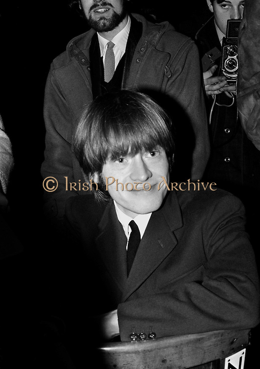 The Rolling Stones Charlie is my Darling - Ireland 1965 -..Brian Jones smiles for the cameras at The Rolling Stones press conference at the Adelphi Theatre, Middle Abbey Street, Dublin. This was the band's first Irish tour of 1965....07/01/1965. 01/07/1965.07 January 1965. Wedding gifts  of Limited Edition Prints of Brain Jones, The Rolling Stones, Charlie is my Darling, Ireland 1965.  <br /> Romantic gifts of Limited Edition Prints of Brian Jones, The Rolling Stones, Charlie is my Darling, Ireland 1965.  <br /> Anniversary gifts of Limited Edition Prints of Brian Jones, The Rolling Stones, Charlie is my Darling, Ireland 1965.  <br /> Christmas gifts of Limited Edition Prints of Brian Jones, The Rolling Stones, Charlie is my Darling, Ireland 1965.  <br /> Unusual giftsof Limited Edition Prints of Brian Jones, The Rolling Stones, Charlie is my Darling, Ireland 1965. <br /> Unique gifts of  Limited Edition Prints of Brian Jones, The Rolling Stones, Charlie is my Darling, Ireland 1965. <br /> Birthday gifts of Limited Edition Prints of Brian Jones, The Rolling Stones, Charlie is my Darling, Ireland 1965.  <br /> Gifts of Limited Edition Prints of Brian Jones, The Rolling Stones, Charlie is my Darling, Ireland 1965.  <br /> Gift of Limited Edition Prints of Brian Jones, The Rolling Stones, Charlie is my Darling, Ireland 1965.