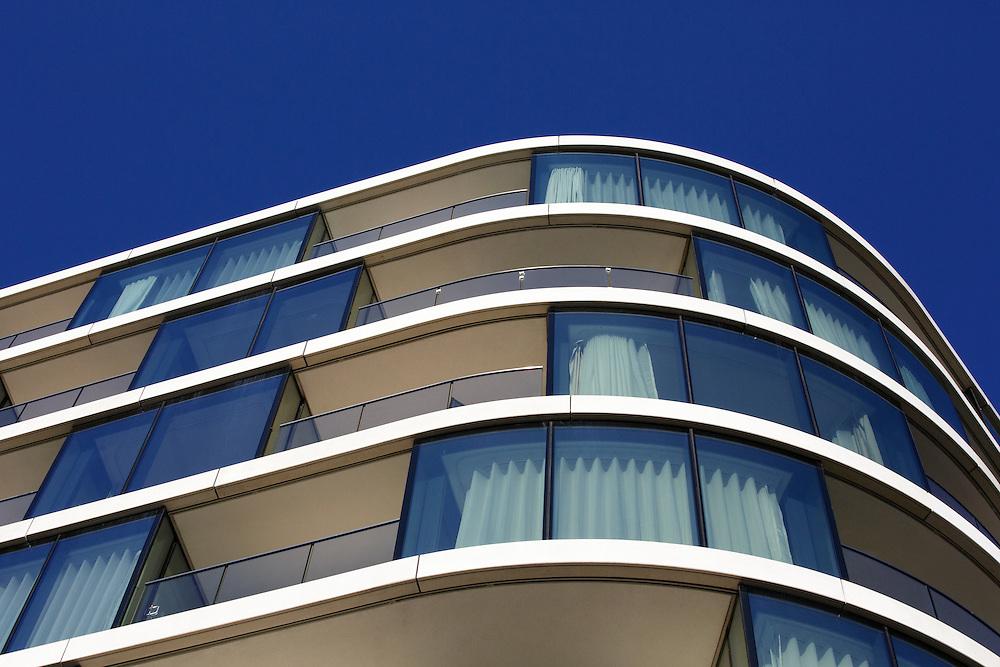 Upscale Apartment building against a blue sky