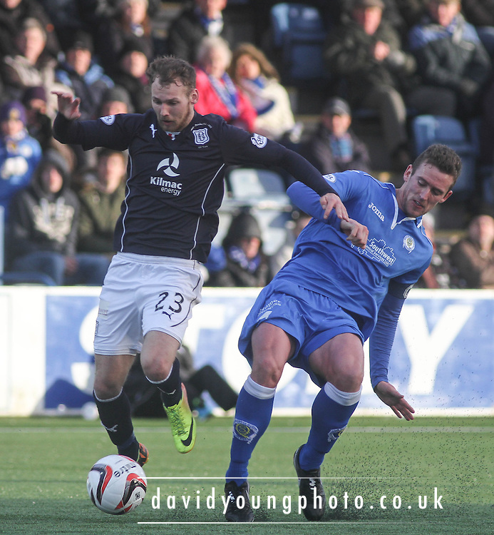 Stephen McKenna ties to stop Martin Boyle - Queen of South v Dundee, SPFL Championship at Palmerston Park <br /> <br /> <br />  - &copy; David Young - www.davidyoungphoto.co.uk - email: davidyoungphoto@gmail.com