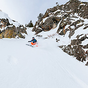 Keely Kelleher skis a line in the backcountry of the Tetons.