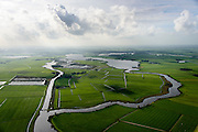 Nederland, Friesland, Alde Feanen, 10-10-2014; It Eilân, ten zuiden van Sytebuorren. Voormalig landbouwgebied (melkveehouderij), nu weidevogelgebied en retentiepolder. Rechts aan de horizon Grouw.<br /> The old peatlands, Frisian peatland and bog, nature reserve.<br /> luchtfoto (toeslag op standard tarieven);<br /> aerial photo (additional fee required);<br /> copyright foto/photo Siebe Swart