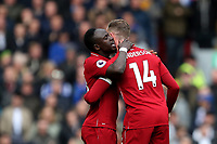 Football - 2018 / 2019 Premier League - Liverpool vs. Chelsea<br /> <br /> Naby Keita of Liverpool speaks with Jordan Henderson, at Anfield.<br /> <br /> COLORSPORT/PAUL GREENWOOD