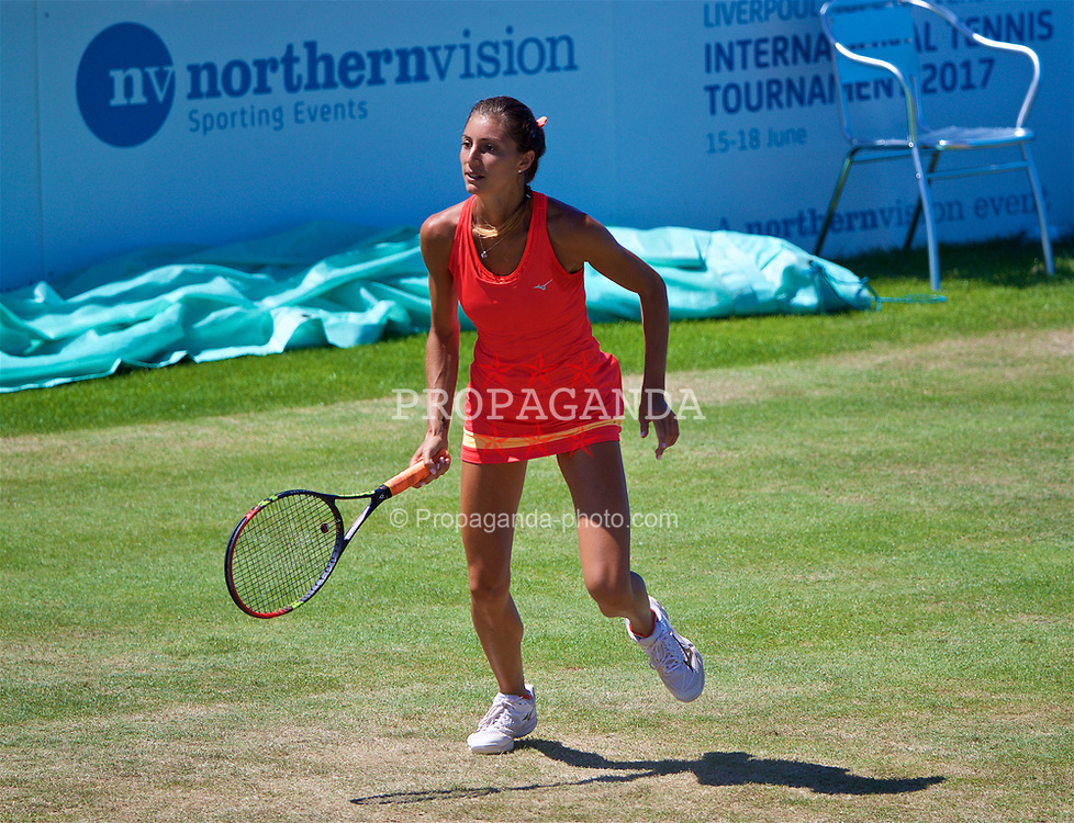 LIVERPOOL, ENGLAND - Sunday, June 18, 2017: Corinna Dentoni (ITA) during the Women's Final on Day Four of the Liverpool Hope University International Tennis Tournament 2017 at the Liverpool Cricket Club. (Pic by David Rawcliffe/Propaganda)