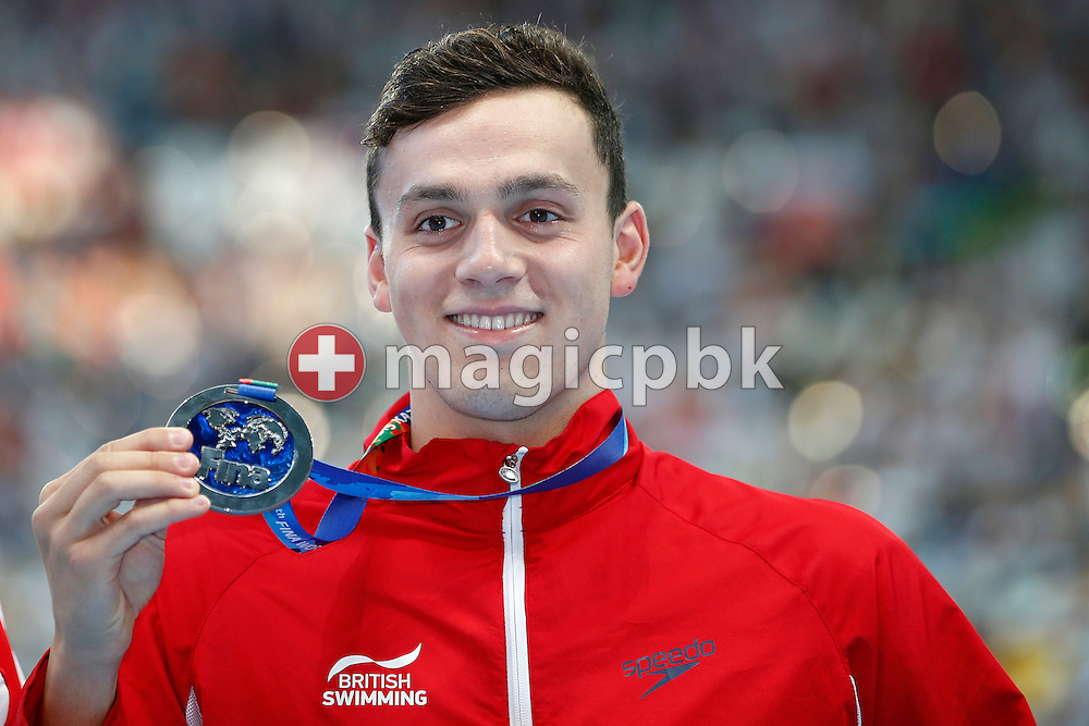 James Guy of Great Britain poses with his Silver medal after finishing second in the men's 400m Freestyle Final during the 16th FINA World Swimming Championships held at the Kazan arena in Kazan, Russia, Sunday, Aug. 2, 2015. (Photo by Patrick B. Kraemer / MAGICPBK)