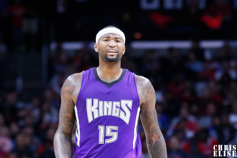02 November 2014: Sacramento Kings center DeMarcus Cousins (15) reacts during the Sacramento Kings 98-92 victory over the Los Angeles Clippers, at the Staples Center, Los Angeles, California, USA.