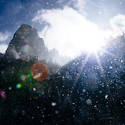 A winter storm clears over the granite formations in Granite Canyon near Jackson Hole Mountain Resort, Wyoming.