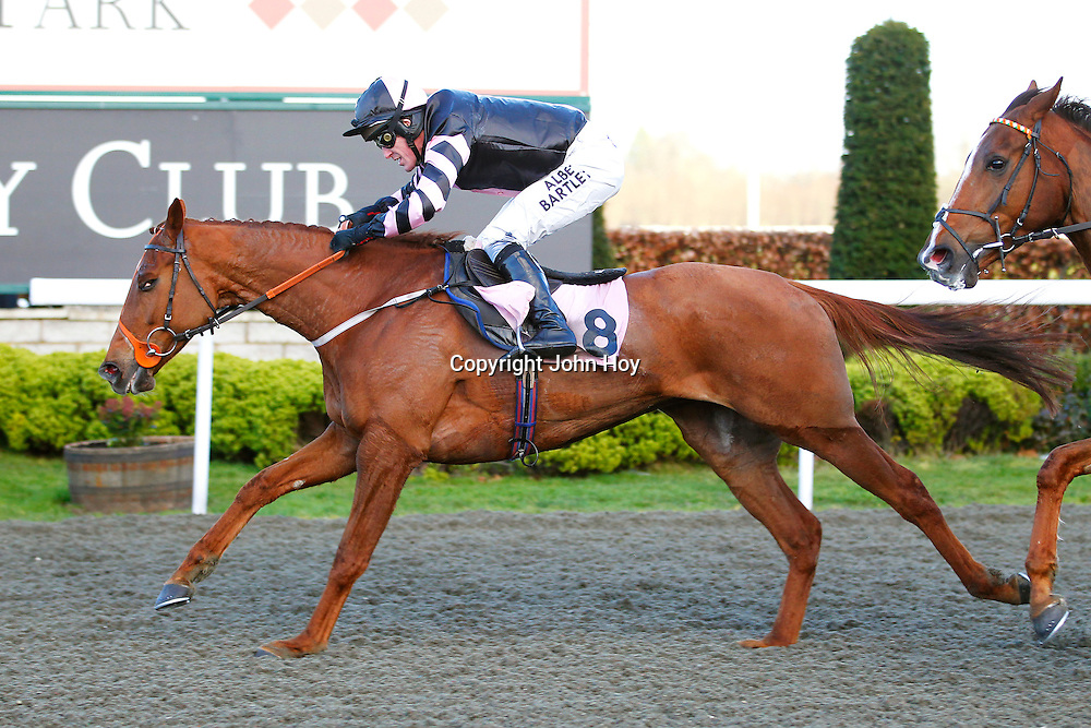 Knightly Escapade and A P McCoy winning the 4.05 race