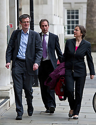 © London News Pictures. 09/02/2013 . London, UK. L to R  Stephen HUmphrey,  Rod Ainsworth and Catherine Brown from FSA (Food Standards Agency arriving at the Department for the Environment, Food and Rural Affairs in London where Secretary of State for Environment, Food and Rural Affairs, OWEN PATERSON is holding a summit to discuss the unfolding scandal over horsemeat being found in various products.. Photo credit : Ben Cawthra/LNP