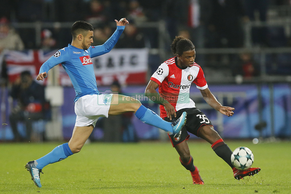 Adam Ounas of SSC Napoli, Tyrell Malacia of Feyenoord during the UEFA Champions League group F match between Feyenoord Rotterdam and SSC Napoli at the Kuip on December 06, 2017 in Rotterdam, The Netherlands