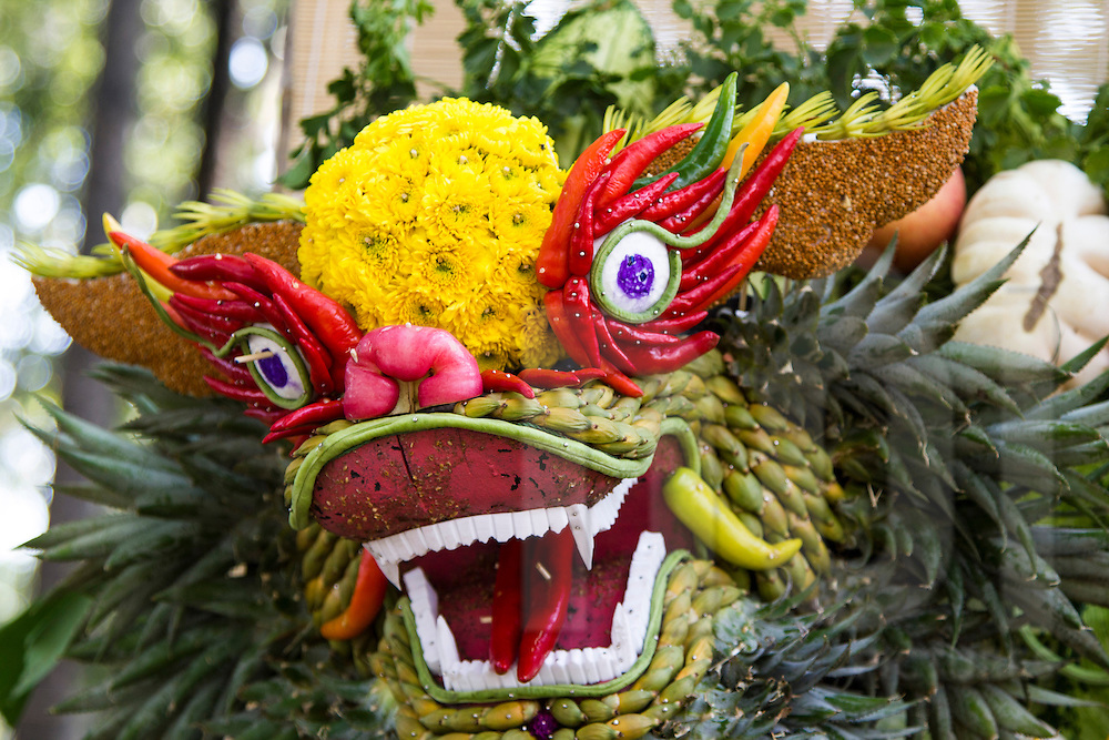 Close Up Of Dragon Head Made Fruit Flowers And Vegetables Ho Chi