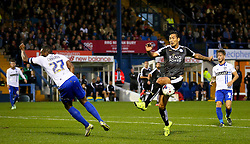 Leonardo Ulloa of Leicester City miss kicks - Mandatory byline: Matt McNulty/JMP - 07966386802 - 25/08/2015 - FOOTBALL - Gigg Lane -Bury,England - Bury v Leicester City - Capital One Cup - Second Round