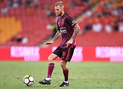 January 8, 2018 - Brisbane, QUEENSLAND, AUSTRALIA - Jacob Pepper of the Roar (8) passes the ball during the round fifteen Hyundai A-League match between the Brisbane Roar and Sydney FC at Suncorp Stadium on Monday, January 8, 2018 in Brisbane, Australia. (Credit Image: © Albert Perez via ZUMA Wire)