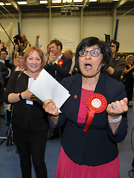 © Licensed to London News Pictures.  09/06/2017; Bristol, UK. General Election 2017; THANGAM DEBBONAIRE cheers with KERRY MCCARTHY, having won Bristol West and Bristol East respectively for Labour at City of Bristol Academy, as news comes in that Labour have also won Bristol North West. Picture credit : Simon Chapman/LNP