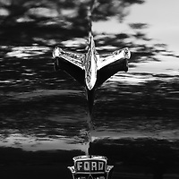 1953 Ford Crestline V8 hood ornament black and white
