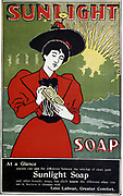 Advertisement for Sunlight household soap c1890 recommending it to the housewife by claiming it would make life easier. Produced by Lever Brothers at their Port Sunlight works, Liverpool, England