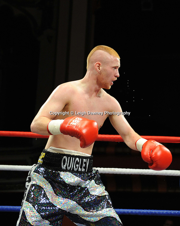 John Quigley (pictured)defeats Steve Gethin in a Super Featherweight contest at Olympia, Liverpool on the 11th June 2011. Frank Maloney Promotions.Photo credit: Leigh Dawney 2011