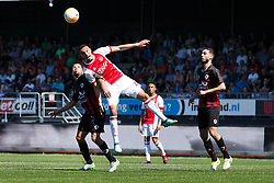(L-R) Anouar Hadouir of Excelsior, Noussair Mazraoui of Ajax, Justin Kluivert of Ajax, Hicham Faik of Excelsior during the Dutch Eredivisie match between sbv Excelsior Rotterdam and Ajax Amsterdam at Van Donge & De Roo stadium on May 06, 2018 in Rotterdam, The Netherlands