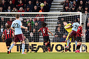 Goal - Mbwana Samatta (20) of Aston Villa scores a goal with a looping header beating Aaron Ramsdale (12) of AFC Bournemouth to make the score 2-1 during the Premier League match between Bournemouth and Aston Villa at the Vitality Stadium, Bournemouth, England on 1 February 2020.