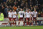 Sheffield United celebrate Sheffield United defender, on loan from Birmingham City, David Edgar scoring to go 3-0 up during the Sky Bet League 1 match between Sheffield Utd and Bradford City at Bramall Lane, Sheffield, England on 28 December 2015. Photo by Ian Lyall.