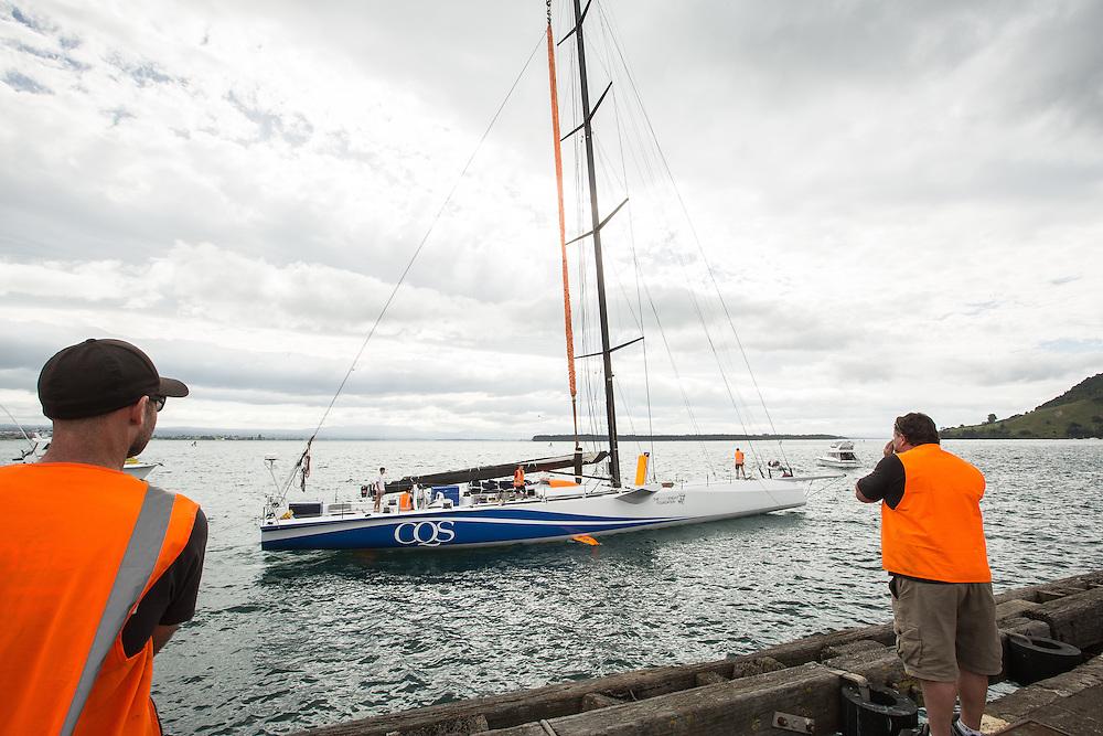 100-ft race yacht at Southern Ocean Marine. Tauranga, New Zealand. 10 November 2016.  Photo:Gareth Cooke/Subzero Images