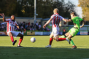 Forest Green Rovers Dayle Grubb(8) shoots at goal from the edge of the box during the EFL Sky Bet League 2 match between Forest Green Rovers and Cheltenham Town at the New Lawn, Forest Green, United Kingdom on 20 October 2018.