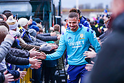 Leeds United midfielder Kalvin Phillips (23) arrives at the ground during the EFL Sky Bet Championship match between Leeds United and Sheffield Wednesday at Elland Road, Leeds, England on 11 January 2020.