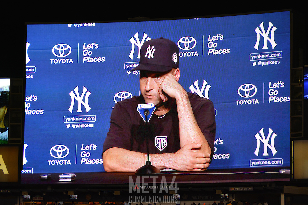 Derek Jeter's final game press conference is displayed on the Yankee Stadium video screen.