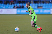 Forest Green Rovers Liam Noble(15) on the ball during the FA Trophy match between Macclesfield Town and Forest Green Rovers at Moss Rose, Macclesfield, United Kingdom on 4 February 2017. Photo by Shane Healey.
