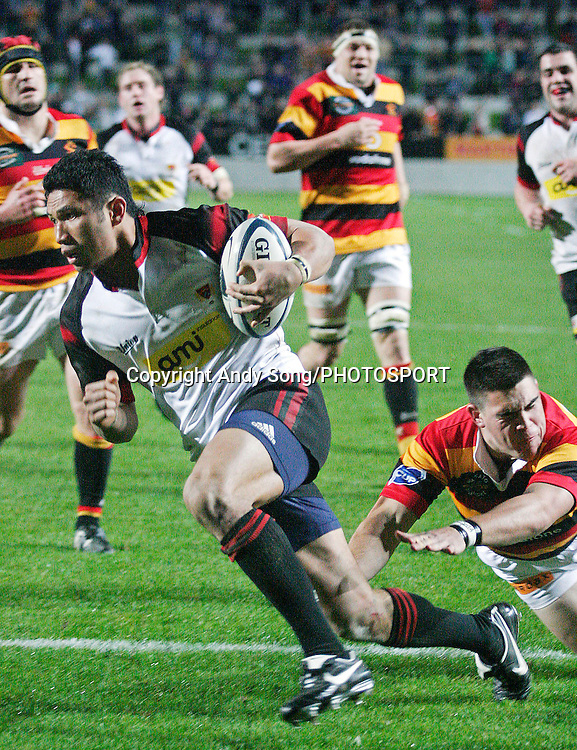 Canterbury centre Casey Laulala scores a try during the Air New Zealand Cup week 3 rugby union match between Waikato and Canterbury at Waikato Stadium in Hamilton, New Zealand on Friday 11 August 2006. Photo: Andy Song/PHOTOSPORT