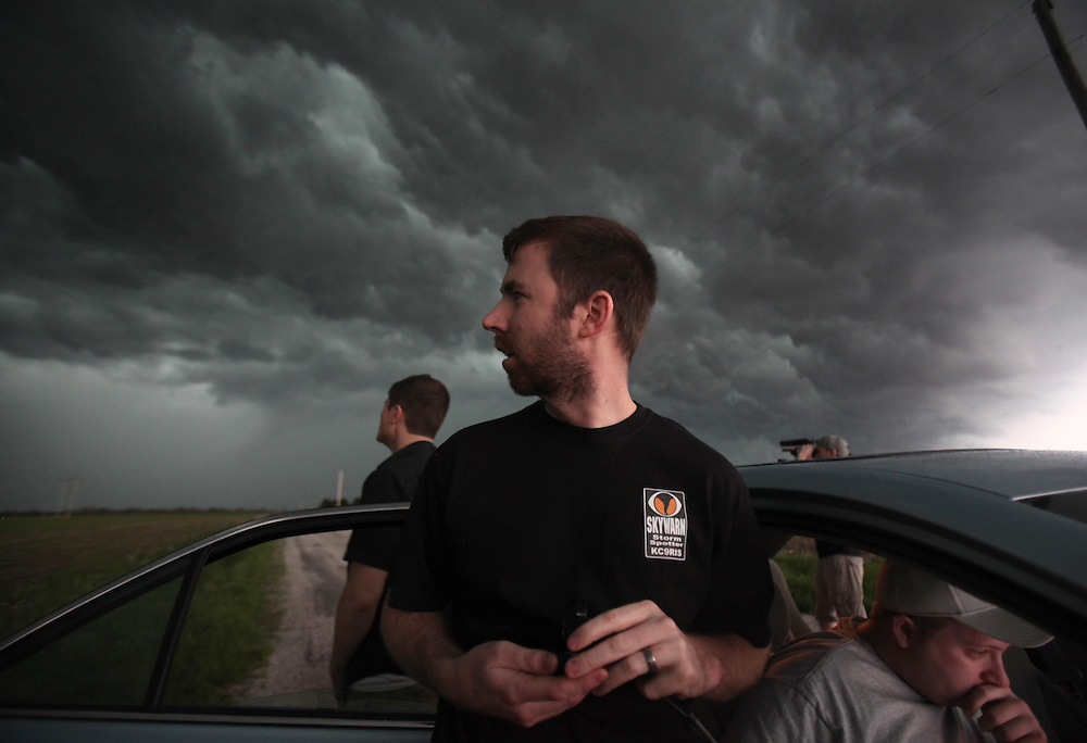 Ball State storm chaser Lucas Reese checks out the sky in southern Illinois Tuesday April 19. The storm system produced multiple tornados and large hail.