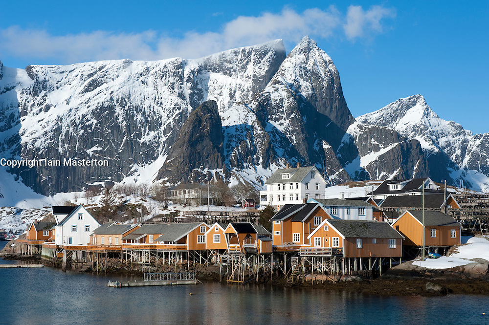 Traditional wooden Rorbu fishermen`s huts in village of Sakrisoy on Moskenesoya Island in Lofoten Islands in Norway