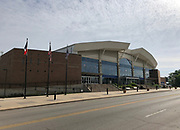 General overall view of the Knapp Center on the campus of Drake University in Des Moines, Iowa, Saturday, June 23, 2018. The  7,152-seat multi-purpose arena was built in 1992 and is the home of the Drake Bulldogs basketball team.