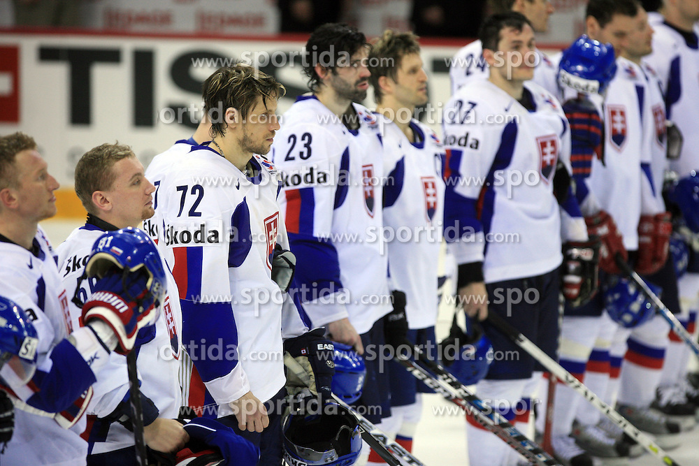 Team Slovakia (n72 Andrej Kollar of Slovakia) after victory at ice-hockey game Slovenia vs Slovakia at second game in  Relegation  Round (group G) of IIHF WC 2008 in Halifax, on May 10, 2008 in Metro Center, Halifax, Nova Scotia, Canada. Slovakia won after penalty shots 4:3.  (Photo by Vid Ponikvar / Sportal Images)