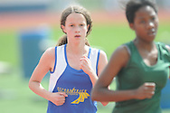Oxford Middle School's Sarah Grayzel-Ward runs the 3200 meters during a  track meet in Oxford, Miss. on Thursday, April 7, 2011.